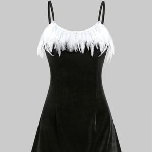 FEATHER EMBELLISHED BLACK VELVET CAMI DRESS